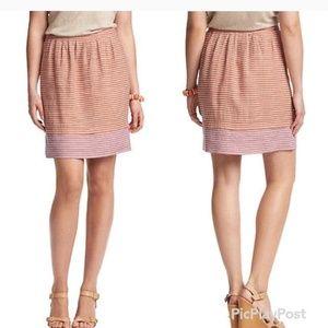 ANN TAYLOR LOFT Linen Orange Pink Striped Skirt